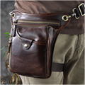 Top Quality Genuine Real Leather men vintage Brown Small Belt Bag Waist Pack Drop Leg Bag 211-5