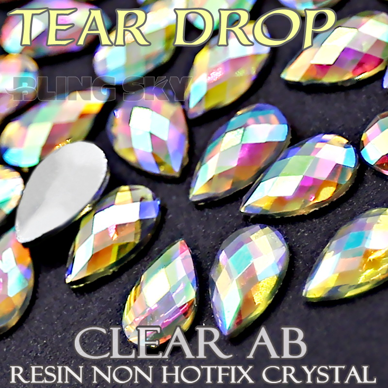 4x6 5x8mm Tear Drop Crystals Nail Art Clear AB Acrylic rhinestones plastic Non Hotfix Flat back glitters for DIY jewelry Stone