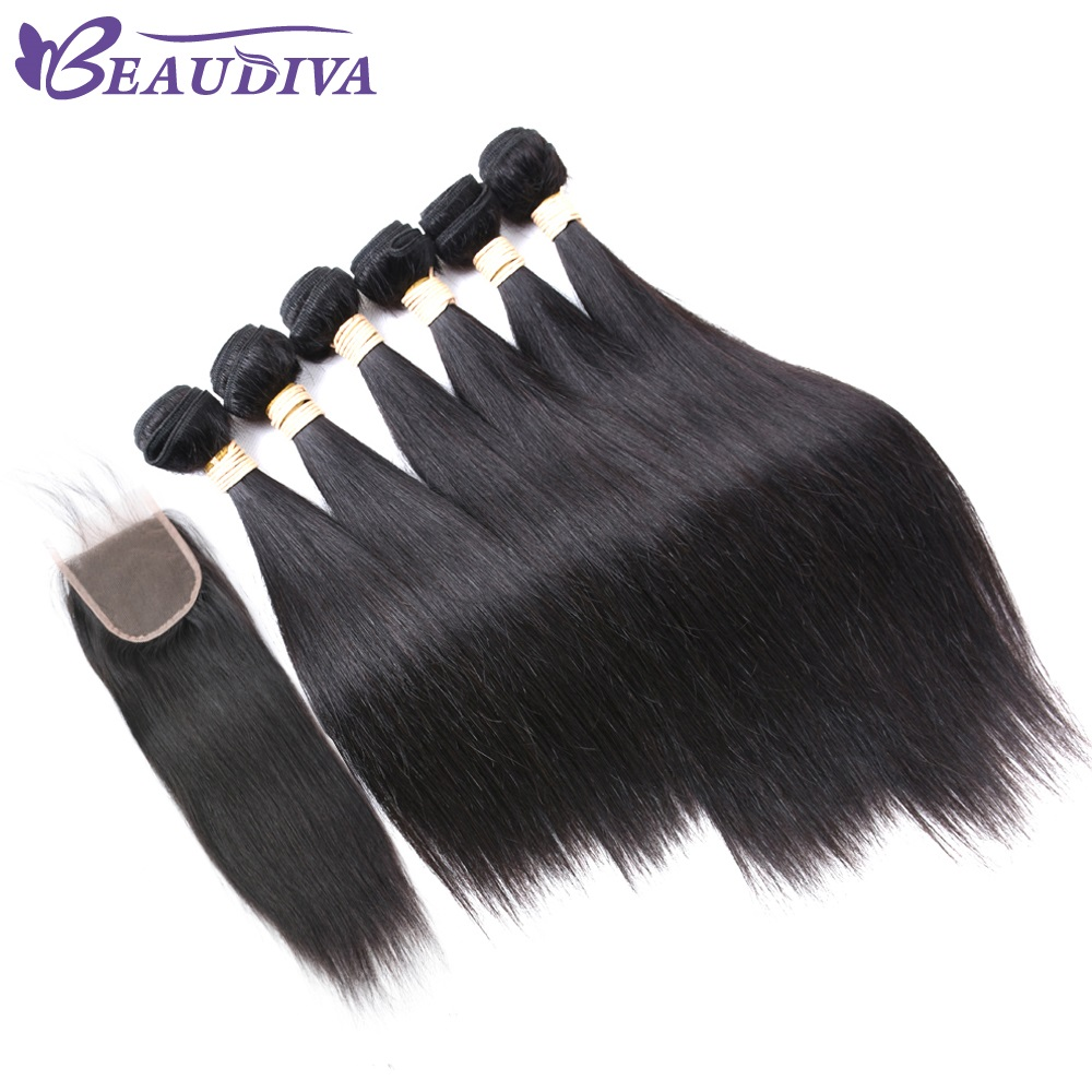 Beau Diva Hair Human Hair Bundles With Closure 6+1 None Remy Indian Straight Hair With 4*4 Free Part Lace Closure