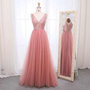 Sexy Crystal Evening Dresses 2019 Beaded Tulle V Neck Evening Gowns Backless High Split Formal Evening Dresses Robe De Soiree
