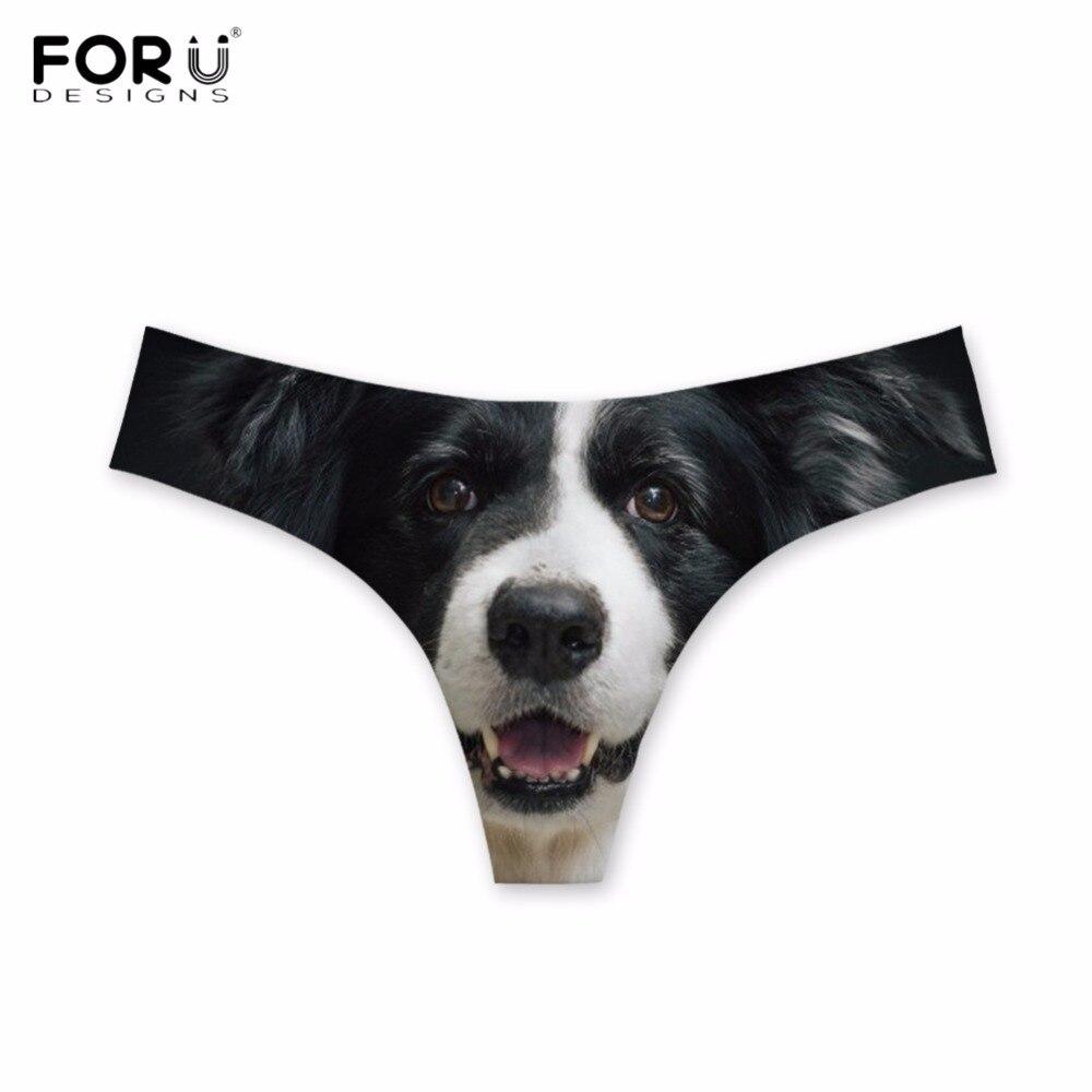 c2b8e8e7e613 FORUDESIGNS Funny Animal Border Collie Print Women Sexy Thongs Fashion  Ultra-thin Traceless Panties Elastic
