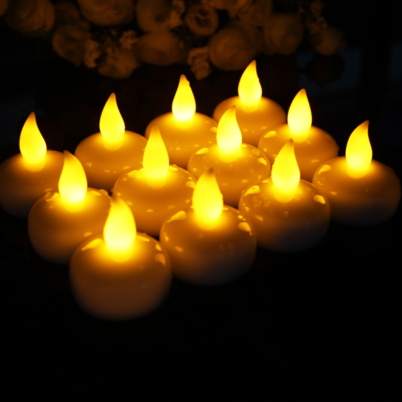 100pcs lot Water Sensor LED Flameless Floating Electronic Candle for Bath SPA Pray Waterproof Tealight Yellow