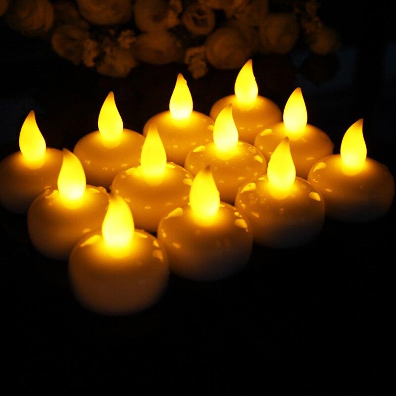 100 sztuk/partia czujnik wody LED bezpłomieniowe pływające elektroniczne świeca do kąpieli SPA modlić się wodoodporna Tealight żółty w Świece od Dom i ogród na  Grupa 1