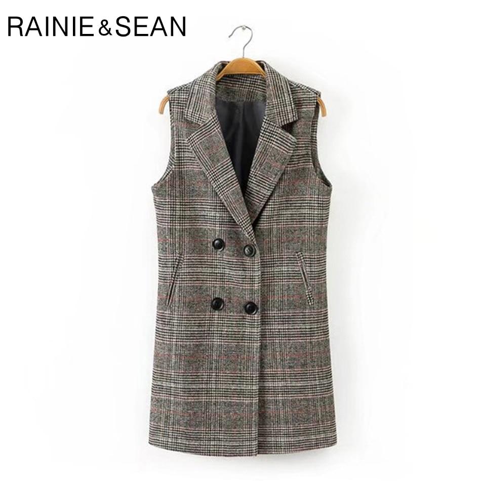 Rainie Sean Check Plaid Coat Women Double Breasted Long Vests Waistcoat Female Spring Tartan England Style Sleeveless Jackets