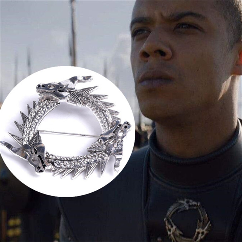 Hot New Movie Game Of Thrones Unsullied Grey Worm Brooch Cosplay Accessories Dragon Badge Fibula Targaryen Souvenir Brooch Gift