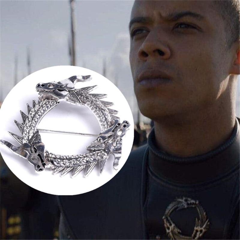 Hot New Movie Game of Thrones Unsullied Grey Worm Brooch Cosplay Accessories Dragon Badge Fibula Targaryen Souvenir Brooch Gift(China)