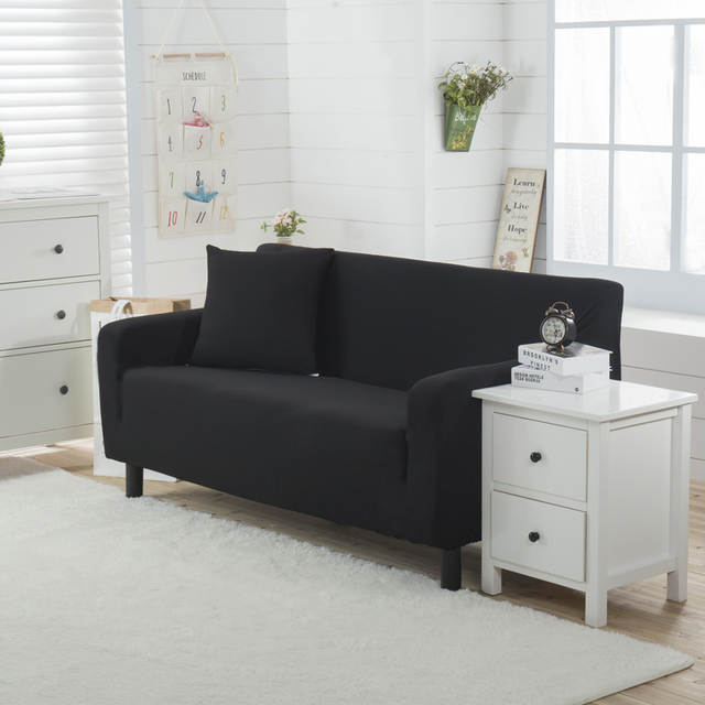 Black stretch furniture covers single loveseat spandex polyester knitted  solid color corner sofa covers anti-dirty slipcovers