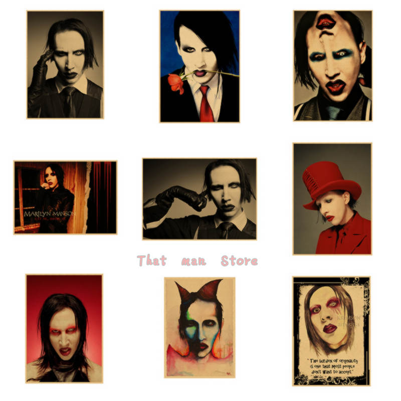 Marilyn Manson Vintage Theatrical Poster Kraft Paper Decorative Painting Wall Sticker 42*30CM