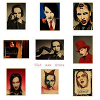 Marilyn Manson vintage cartel teatral kraft papel decorativo pintura pared pegatina 42*30 CM