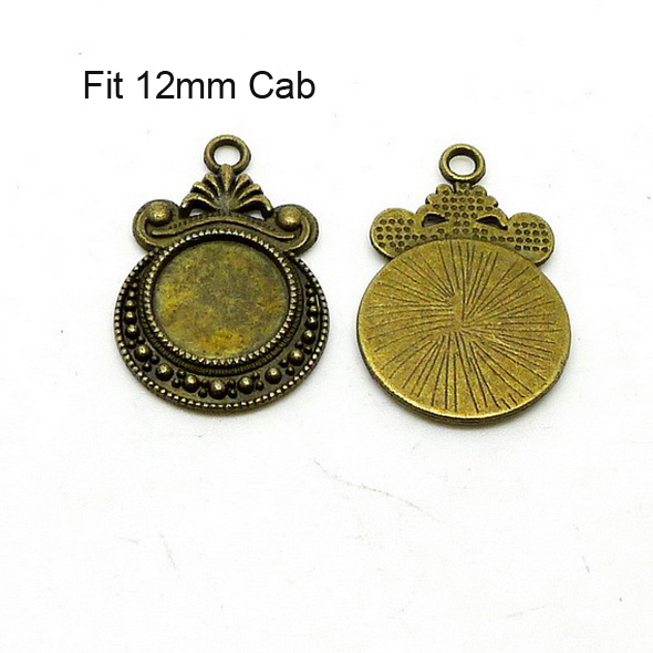 Antique bronze cameo setting fits 12mm Cab 50pcs/lot cabochon pendant bezel tray