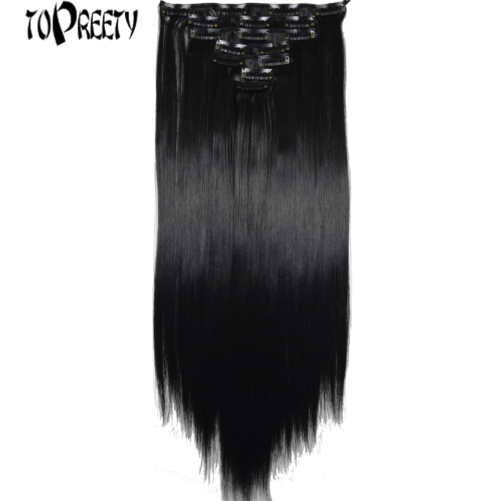 TOPREETY Heat Resistant Synthetic Fiber 100g Straight Clip In Hair Extensions 7pcs/set Full Head 7106