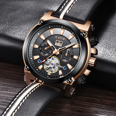 LIGE Fashion Men Watch Top Brand Luxury Automatic Mechanical Watches  Men Casual Leather Waterproof Sport Tourbillon Watches Lahore