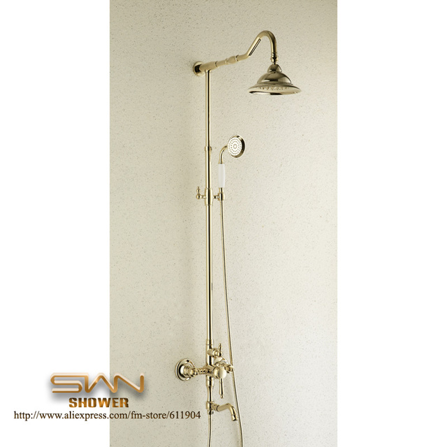 New Luxury Gold Color Shower Set  Faucet Mixer Taps Rainfall  Head  Handheld Spray 1711008