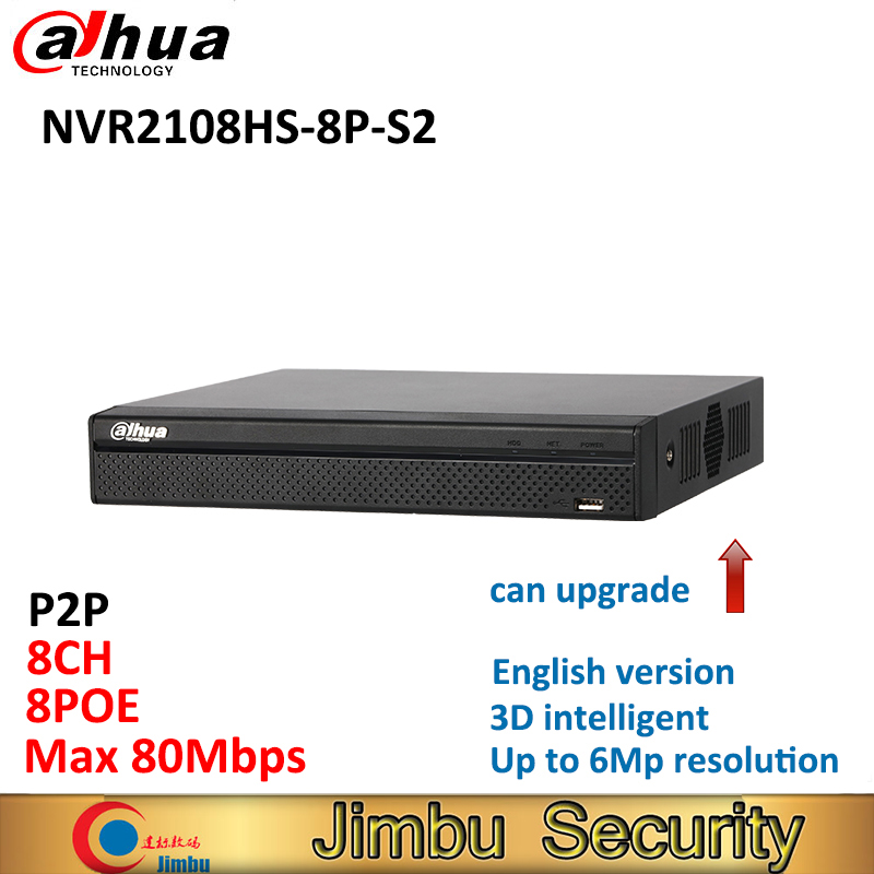 Dahua 8Ch 8PoE NVR NVR2108HS-8P-S2 Smart 1U Lite H.264+/H.264 HD1080P Video Recorder Up to 6Mp Max 80Mbps support PTZ camera ixfk66n50q2 to 264