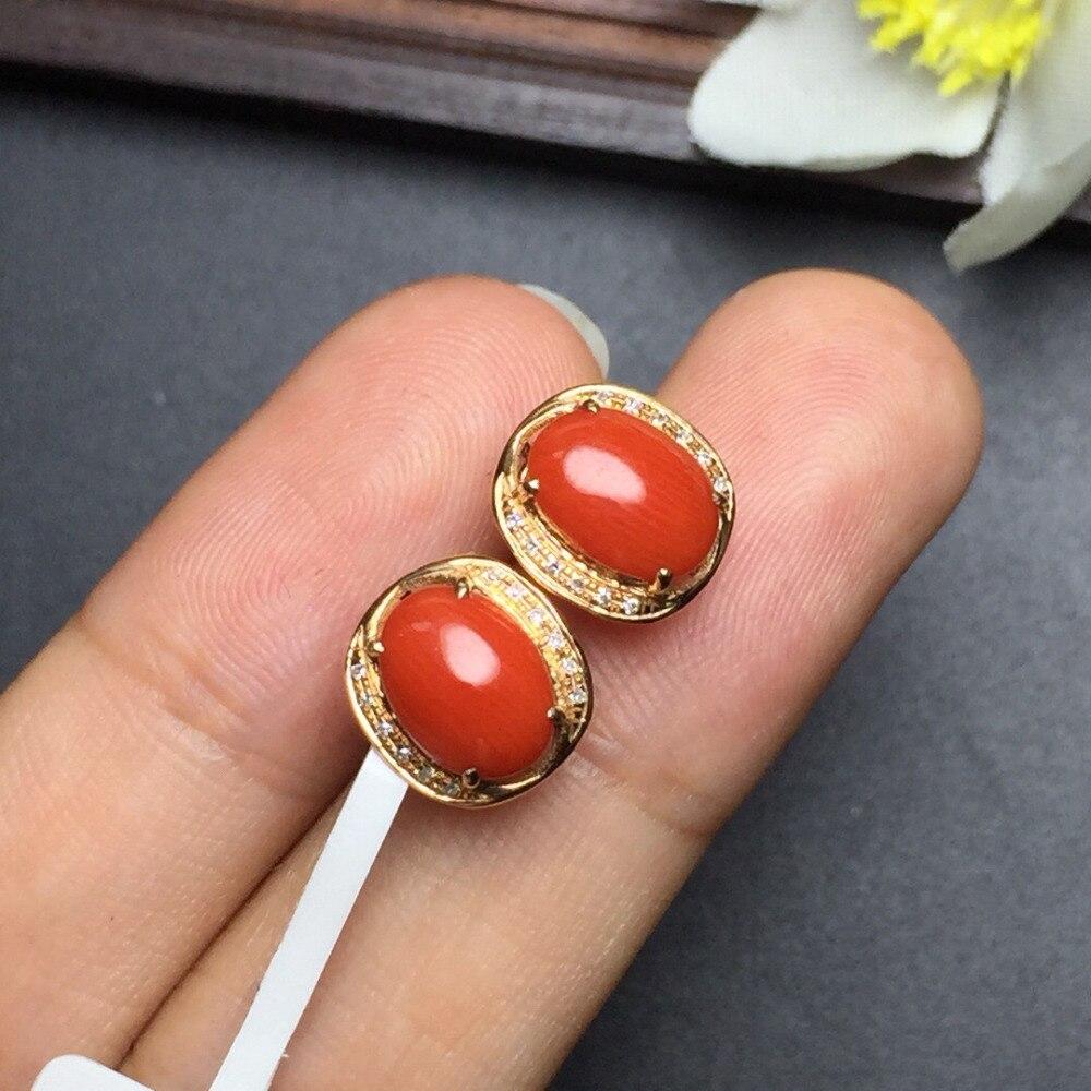 Feine Schmuck Echt 18 k Rose Gold AU750 100% Natur Italien Herkunft einzigartige wertvolle Korallen Weibliche Ohrringe Feine Geschenk frauen ohrring-in Ohrringe aus Schmuck und Accessoires bei  Gruppe 3