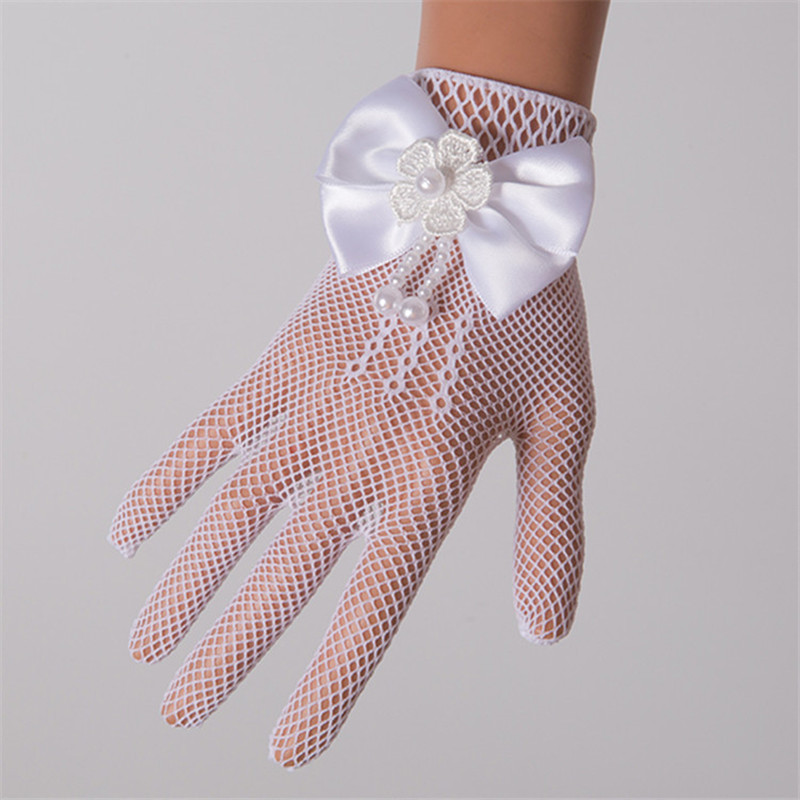 Infant Baby Children Girls Pageant Dance Princess Birthday Party Lace Gloves White Mesh Bowknot Pearls Wedding Glove Age 4~15