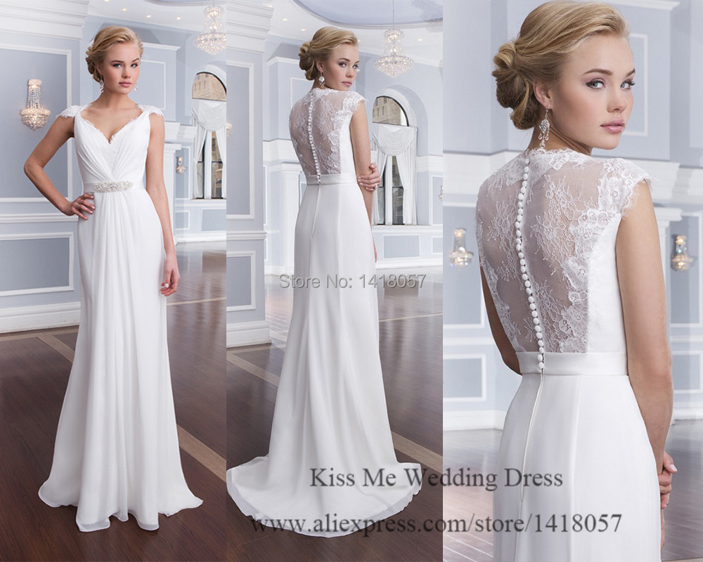 New Design Pure White Beach Wedding Dress 2015 Summer Lace