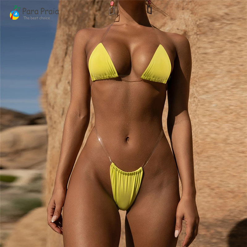 Brazilian Bikini Set Solid Swimwear Invisible Trap Women Swimsuit Micro Bathing Suit Swimwear Women 2019 Sexy Micro Bikini Mini