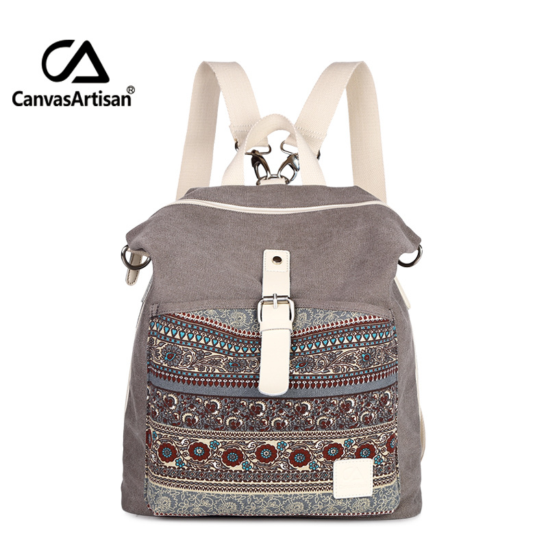 Canvas Printing Backpack Women School Bags for Teenage Girls Cute Bookbags National Shoulder Backpacks Female Crossbody Bags 4 pcs set women backpacks cute printing bear school bags for teenage girls canvas backpacks ladies shoulder bag mochila feminina