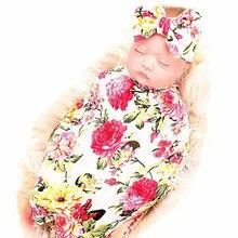 Хлопок Footmuff уютный 2 шт. малыш Новорожденный Младенец Детское Пеленальное Одеяло спальный обертывание+ повязка на голову набор пеленки с цветами