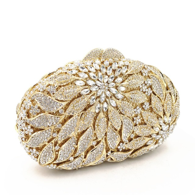 Luxury Rhinestone Gold Metal Leaves White Crystals Evening Clutch  3