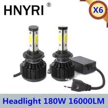 DIC 2pcs Bright X6 LED Headlight 180W 16000Lm H9/H11 H7 H4 High Low DRL 9005 HB3 9006 HB4 Auto Car Accessories Light bulbs 6000K