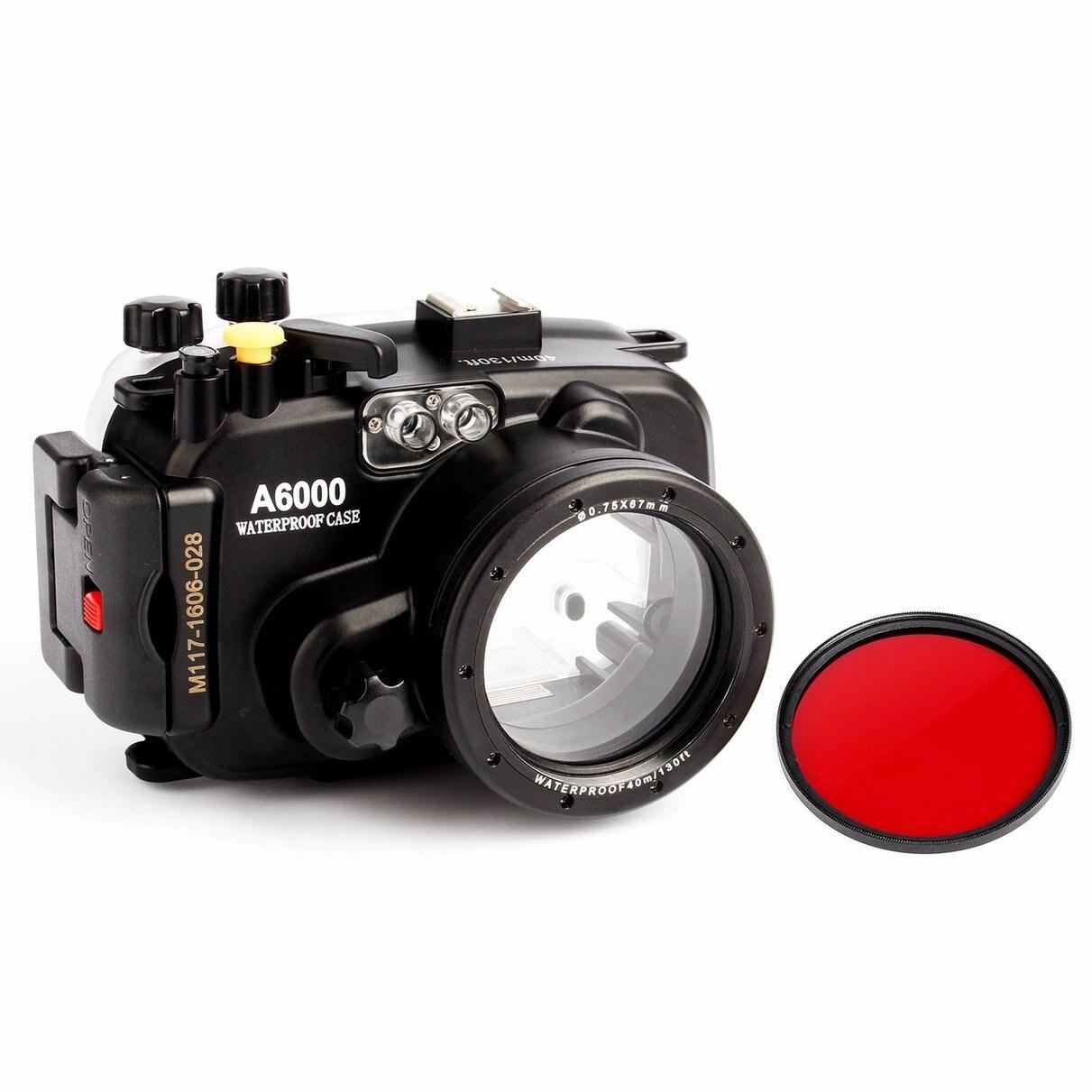 Meikon 40 m/130ft boîtier de boîtier de caméra étanche sous-marine pour Sony A6000 16-50 objectif + filtre rouge