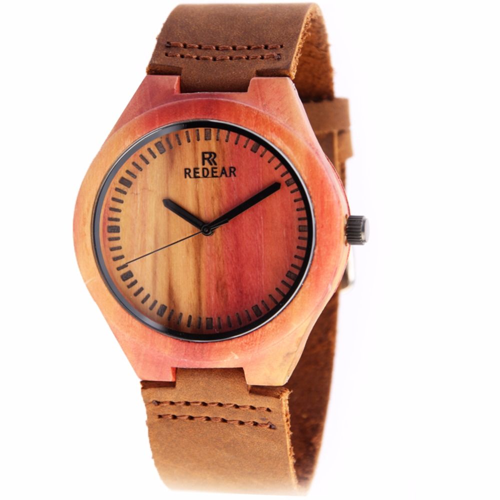ФОТО REDEAR Luxury Men's Wood Watches Fashion Genuine Leather Band Wood Bamboo Watches for Men as Gifts Item