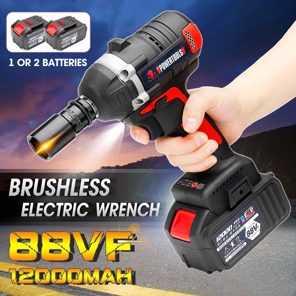 New 88V Rechargeable Brushless/Cordless Electric Wrench 330N.m Torque Household Car Wheel Socket Wrench Hand Drill Power ToolsNew 88V Rechargeable Brushless/Cordless Electric Wrench 330N.m Torque Household Car Wheel Socket Wrench Hand Drill Power Tools