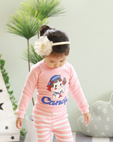Baby Boys Girls Home Wear Cotton Cartoon Round Neck Long Pajamas Kids Boy Girl Clothes Sets