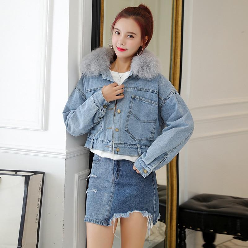 Nouveau De Baisse Renard Court L'agneau Style Épaissie Grand Cou Manteau Femmes Cheveux À Coton bleu Noir Vêtements Jeans Simulé Type r4wt5qr