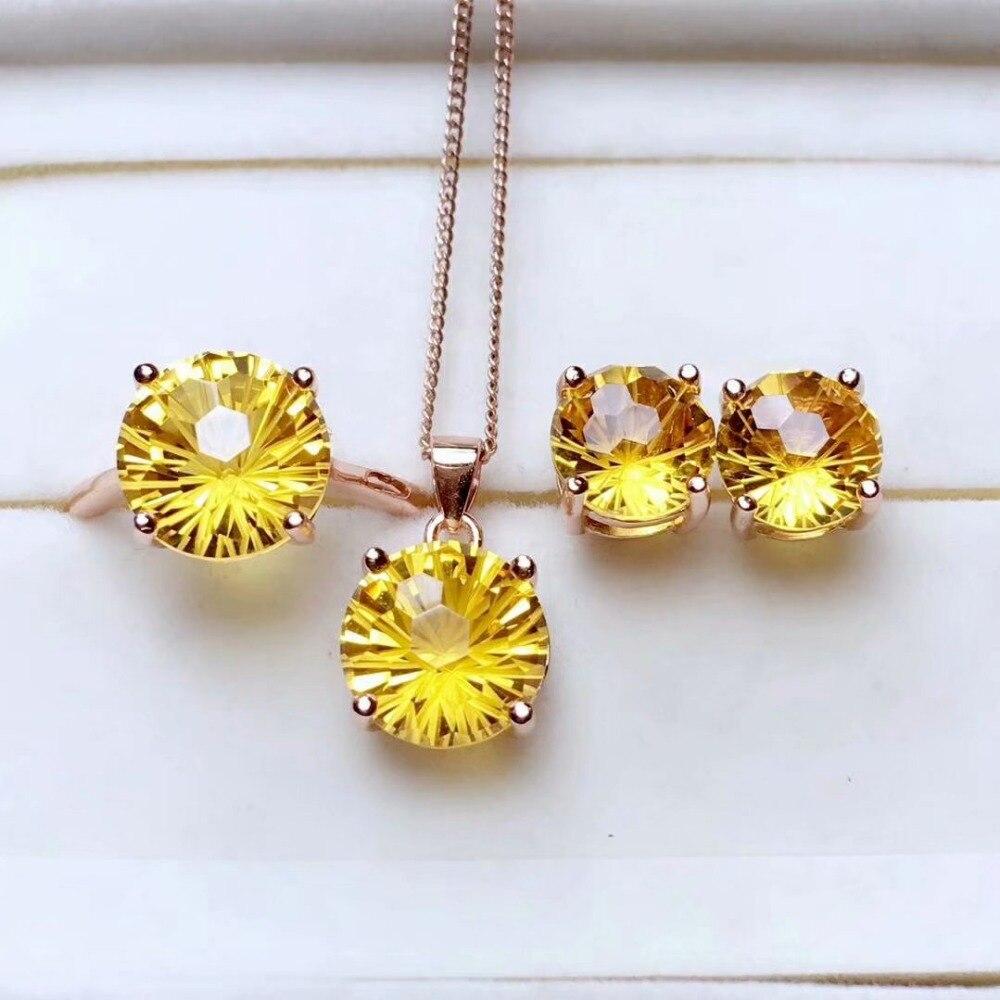 Shilovem 925 argent sterling piézoélectrique citrine anneaux pendentifs boucles d'oreilles bijoux à la mode de mariage ouvert mtz08081010agj