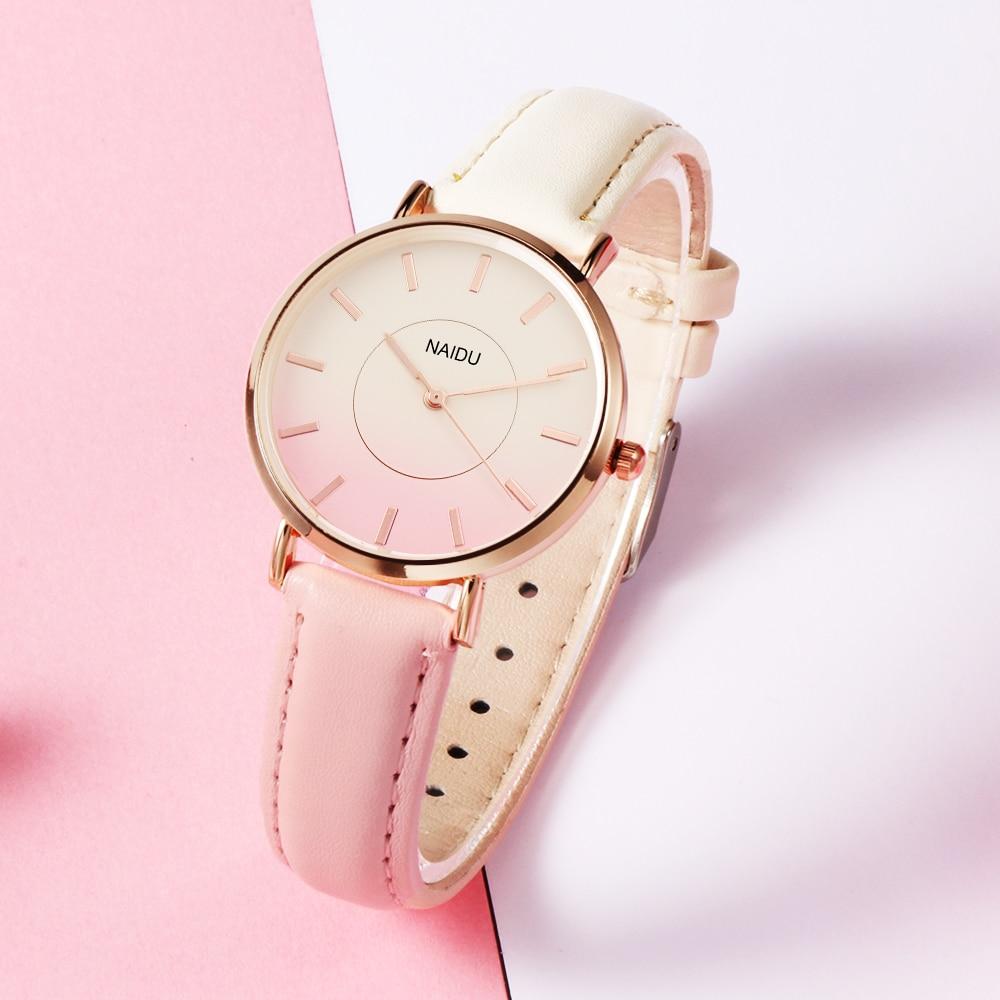 Naidu 2018 Fashion Women WristWatch Womens Gradient Color Watch Retro Rainbow Design Leather Quartz Watches Clock Reloj Mujer