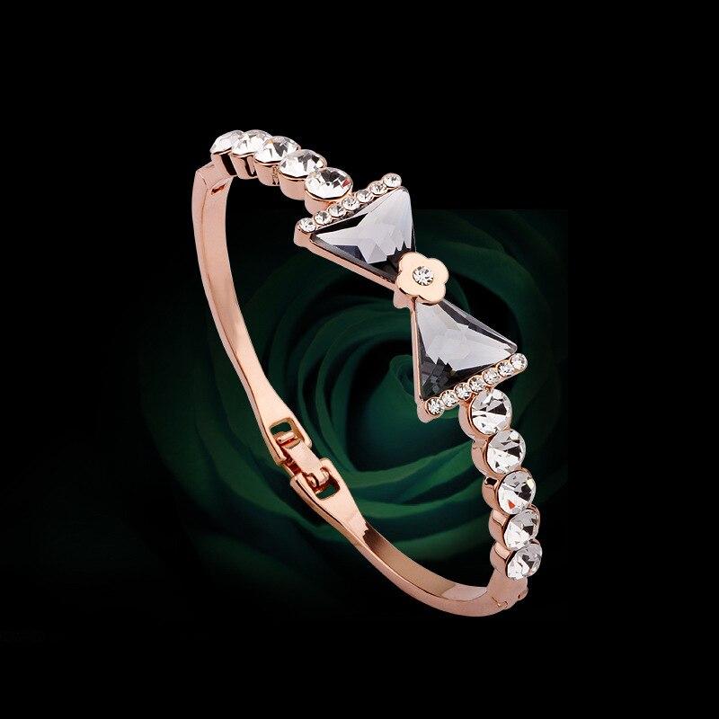 Top Quality Rose Gold color Inlay Cubic Zirconia Swarovski Bracelets & Bangles Jewelry Austrian Crystal Bracelet H0015