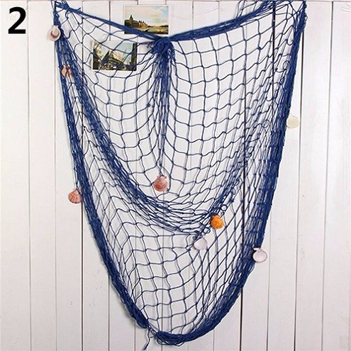Shell Hanging Fish Net Nautical Ocean Theme Home Wall Decor Photography Props 8