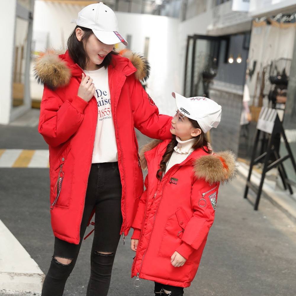 XYF1826 Winter Mother Baby Family Clothes White Duck Down Coat Child Thick Keep Warm kids Jacket Girl Outerwear Boy Windbreaker family fashion mother and child tendrils down coat thickening jacket vest mother