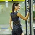Mulheres Sexy parte superior do tanque de leopardo patchwork malha quick dry camiseta sem mangas escavar colete de secagem rápida roupas de fitness exercício