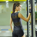 Sexy women leopard tank top patchwork mesh quick dry sleeveless t shirt hollow out quick dry vest fitness exercise clothing