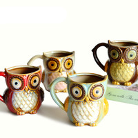 3D cartoon animals lovely owl cups 300 ml milk breakfast coffee cups ceramic cups morning coffee cups