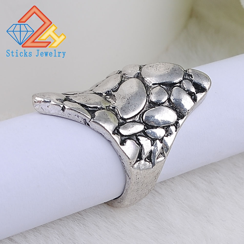 Simple hammer retro alloy zinc ring handmade ancient silver Hot Men Women Gift