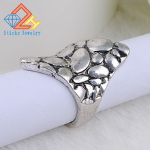 Simple hammer retro alloy zinc ring handmade ancient silver Hot Men Women Gift