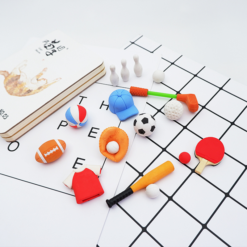 Baseball, Football Sport Rubber Erasers Kawaii School Office Erasers Supplies Papelaria  Child Learning Correcting Stationery