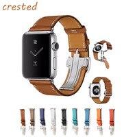 CRESTED Genuine Leather Strap For Apple Watch Band 42mm 38mm Bracelet Metal Buckle Band Belt For