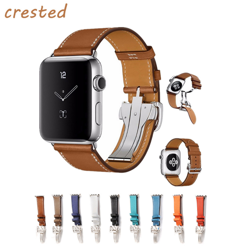 CRESTED Genuine leather strap for apple watch band 42mm 38mm bracelet metal buckle band belt for iwatch 1/2/3 crested leather loop band for apple watch 42mm 38mm