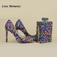 Love Moments/разноцветные свадебные туфли со стразами, женские туфли на тонком каблуке, женские туфли лодочки вечерние и сумки с острым носком