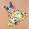 jeans stitching flowers Chiffon Tank Dress New 2015 summer Fashion Beautiful Girls' Striped Sundresses 3/4/5/6/7/10/11/12 years