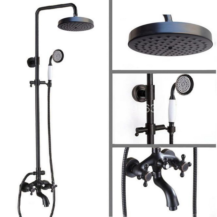 √Black Oil Rubbed Bronze Rainfall Shower System Hand Shower Head ...