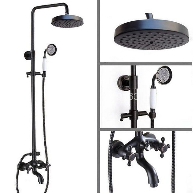 Black Oil Rubbed Bronze Rainfall Shower System Hand Shower Head ...