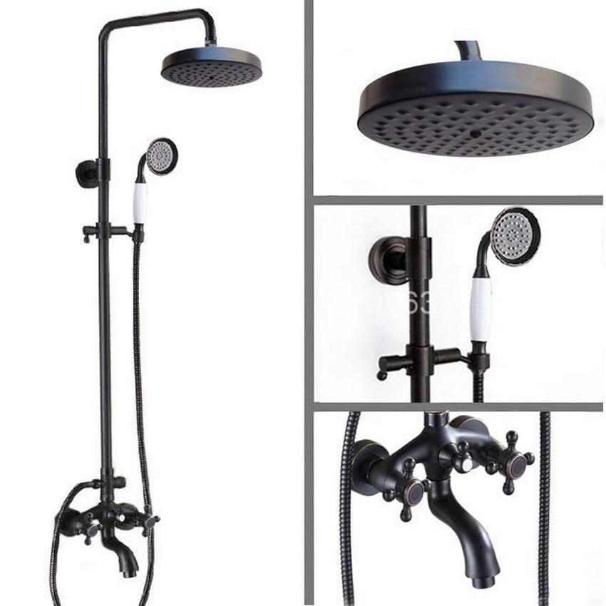 Black Oil Rubbed Bronze Rainfall Shower System Hand Shower Head Bathtub Mixer Tap Set - Wall Mount ars457