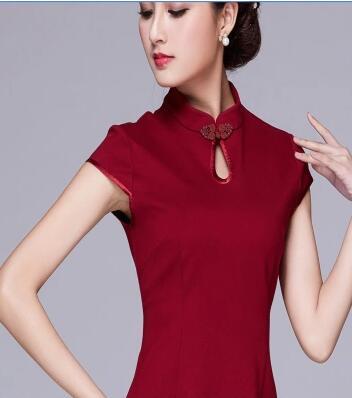 Debout Courtes Automne Été Ol Vintage Col rouge Dame Style Robes Plus Manches bourgogne Noir 3xl X Femmes Robe Taille 7v5xw